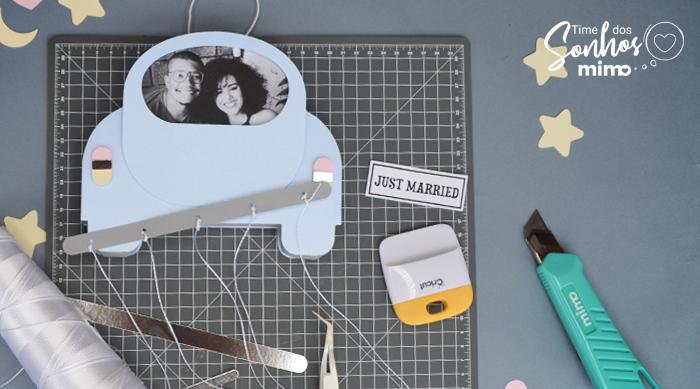 Quadro Personalizado para Recém-Casados - Arquivo Grátis - Carrinho porta retrato