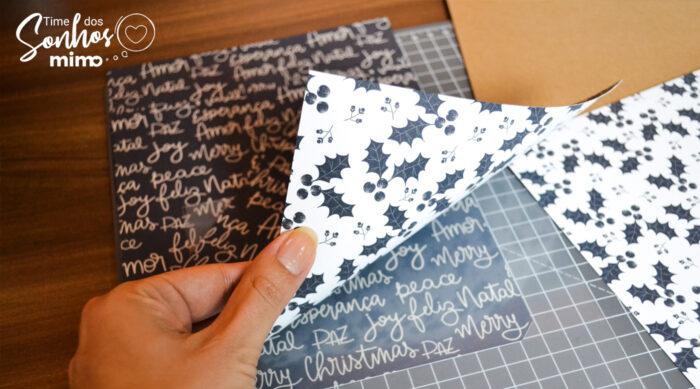 Estampa do papel digital impressa nas partes da caixa de panetone de Natal