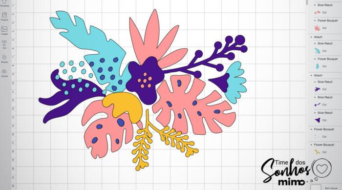 Coloque as cores que escolhi em cada pedaço do desenho