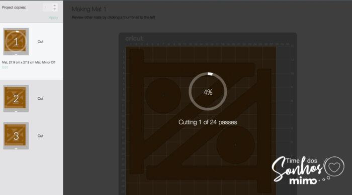 Escolha o Chipboard 2mm como material na configuração de corte