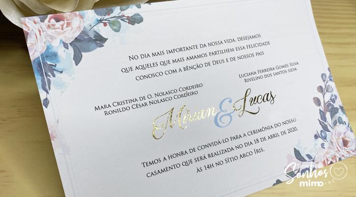 Convite de Casamento com detalhe de Hot Stamping