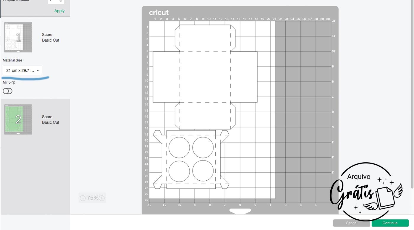 Clique em Fazer e vá para a parte de configuração de corte.
