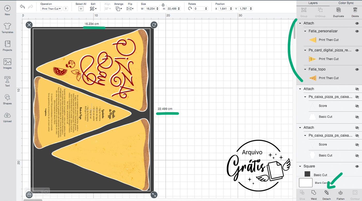 Configurações de Print and Cut para as fatias de Pizza