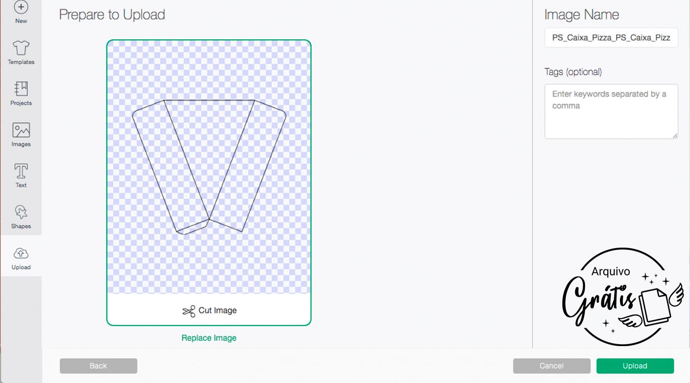 Arquivo para Vinco da Caixa Pizza em SVG