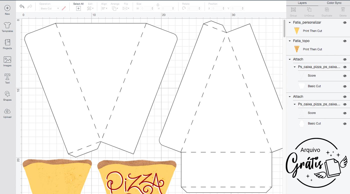 Configurações da Caixa Pizza no Design Space